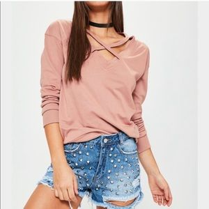 Missguided cross front sweater top